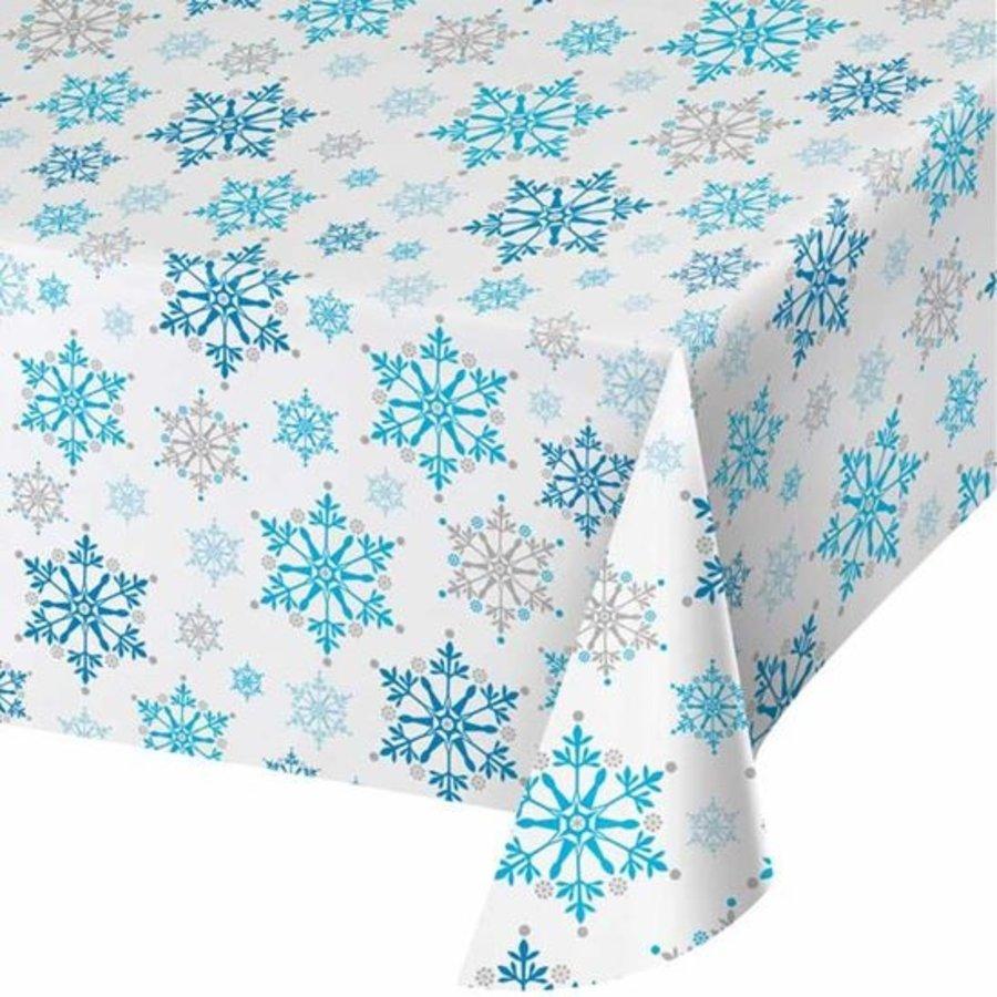 Tafelkleed met blauwe sneeuwvlokken