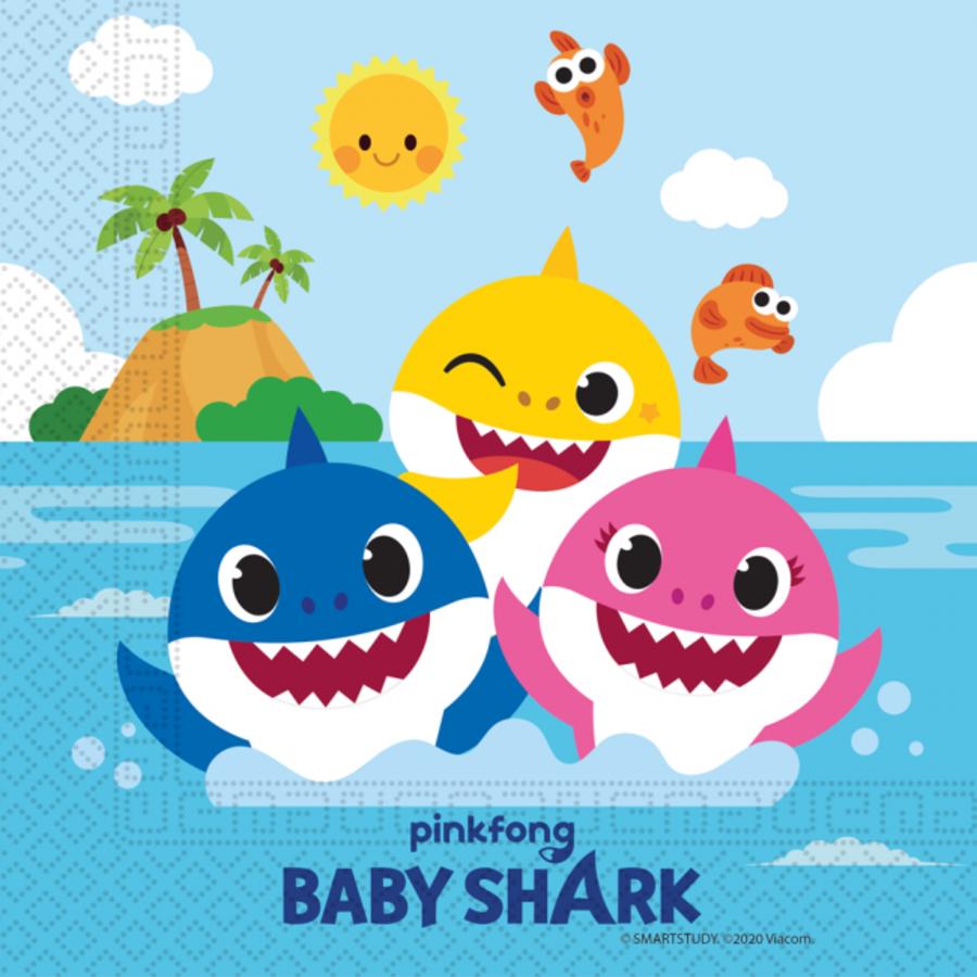 Servetten Baby Shark happy 20 stuks