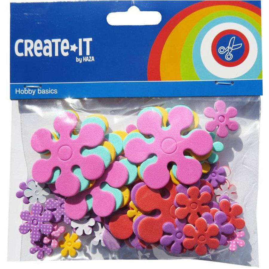 Foam stickers bloemen 70 stuks