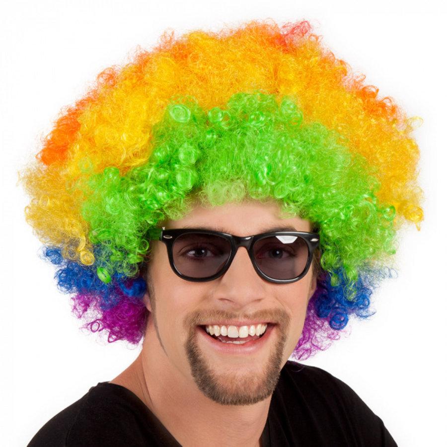 Pruik afro of clown gekleurd luxe