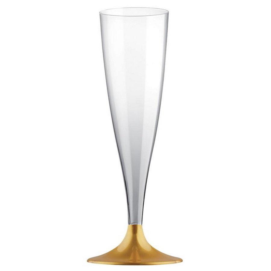 Party Proost glas met goudkleurig voetje 10 stuks