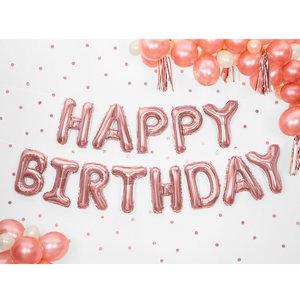 Folieballonnen Happy Birthday ROSÉ GOUD