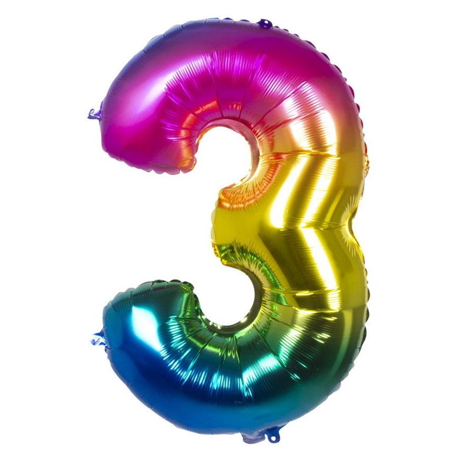 Folieballon cijfer 3 REGENBOOG voor lucht of helium MEGA