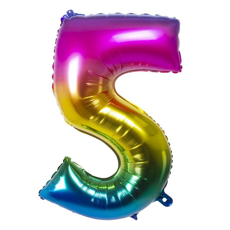 Folieballon cijfer 5 REGENBOOG voor lucht of helium MEGA