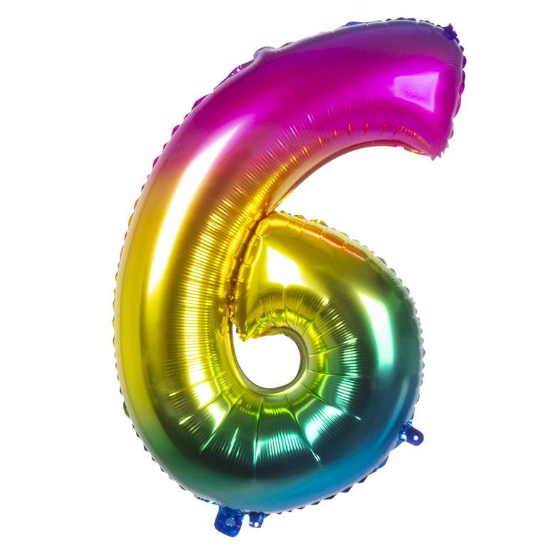 Folieballon cijfer 6 REGENBOOG voor lucht of helium MEGA
