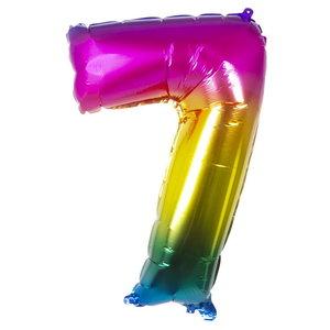 Folieballon cijfer 7 REGENBOOG voor lucht of helium MEGA