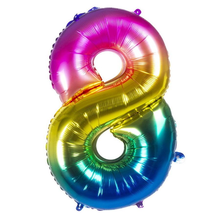 Folieballon cijfer 8 REGENBOOG voor lucht of helium MEGA