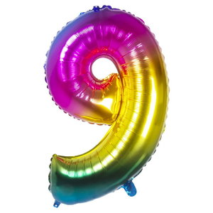Folieballon cijfer 9 REGENBOOG voor lucht of helium MEGA
