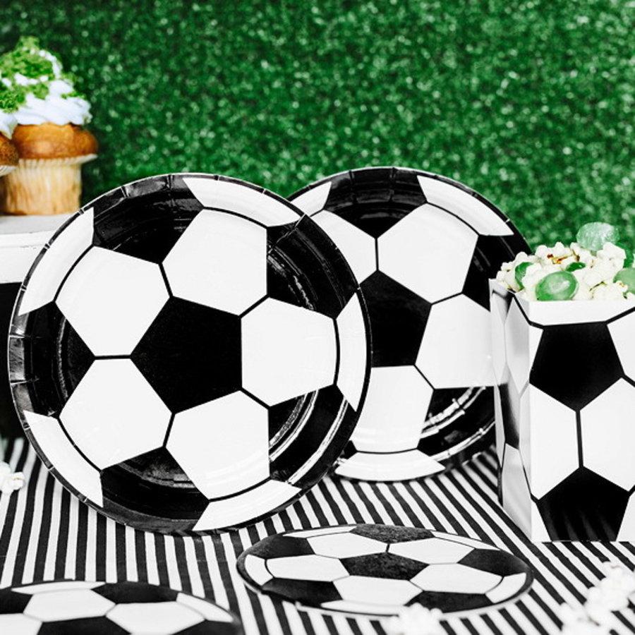 Bordjes voetbal zwart wit 6 stuks