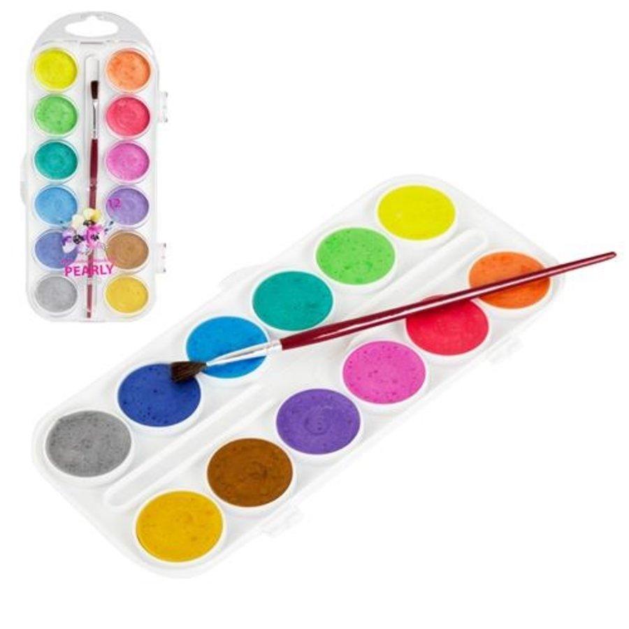 Waterverf parelmoer 12 kleuren met verfkwastje
