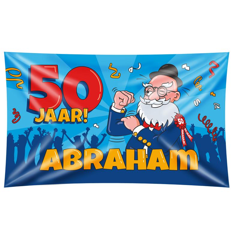 Een grote vlag om op te hangen tijdens een 50ste verjaardag. de vlag en het bijbehorende bevestigingslint ...