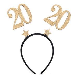 Diadeem 20 jaar met glitter goudkleurige cijfers