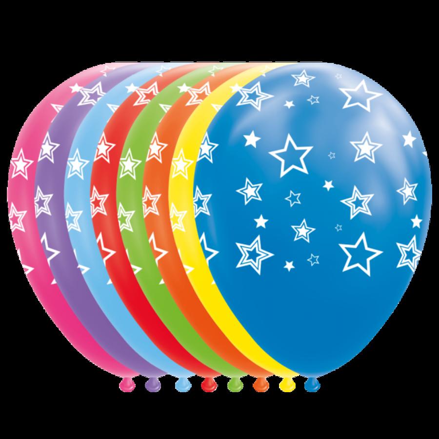 Ballonnen met sterren GEKLEURD 8 stuks