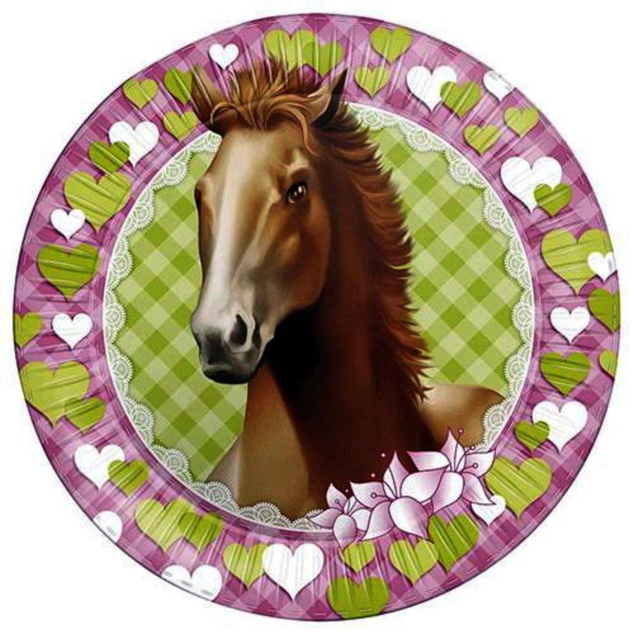 Bordjes paarden groen-roze 8 stuks
