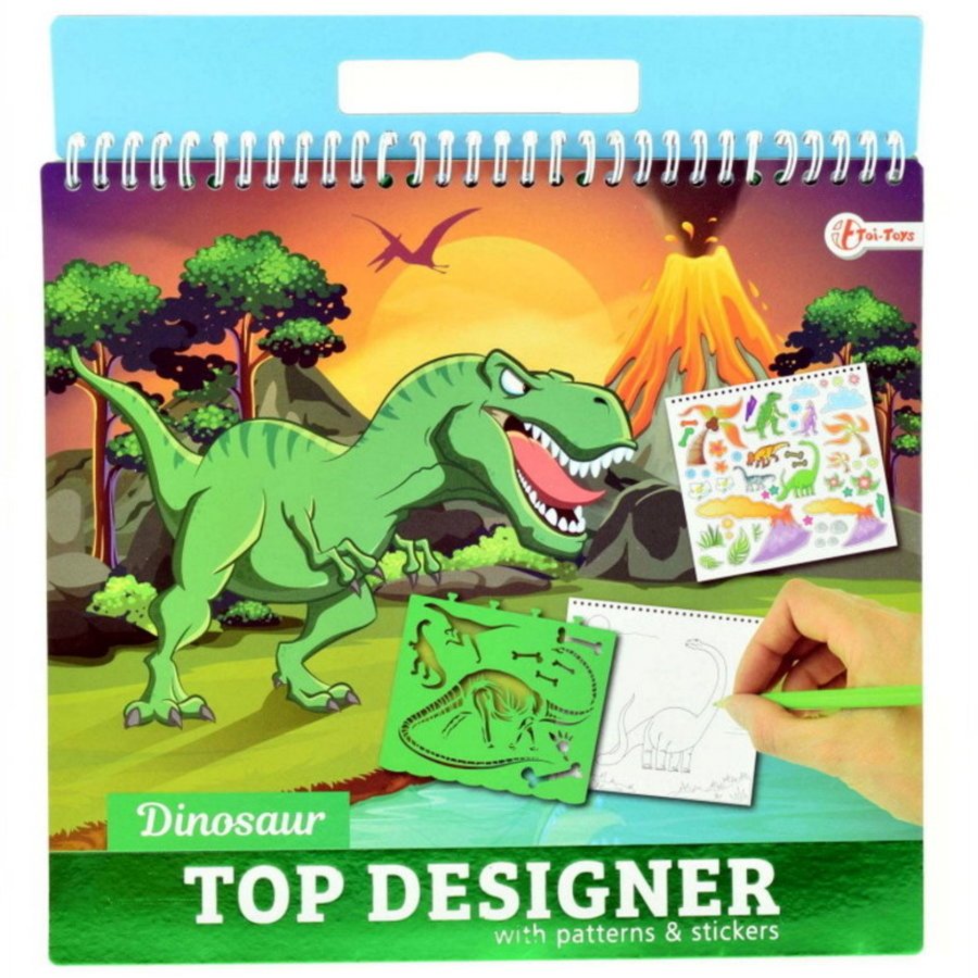 Dinosaurus Top Designer met stickers en sjablonen