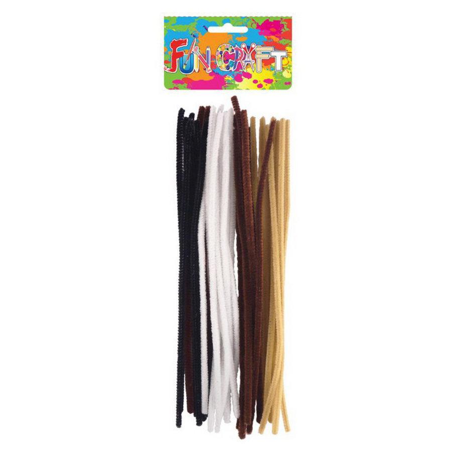 Chenille buigstaafjes zwart wit bruin 30 stuks