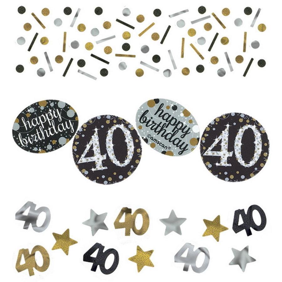 Confetti 40 jaar goud zilver zwart happy birthday