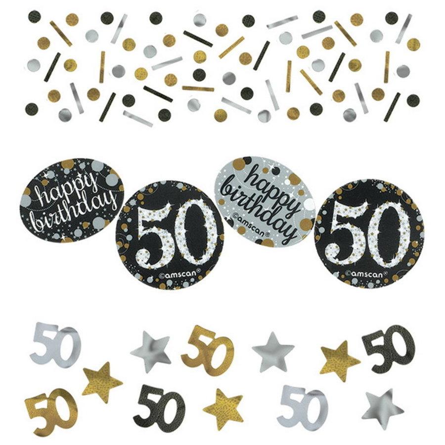 Confetti 50 jaar goud zilver zwart happy birthday