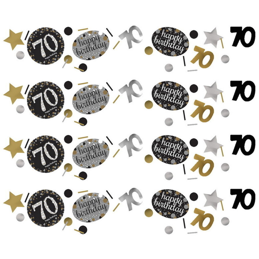 Confetti 70 jaar goud zilver zwart happy birthday
