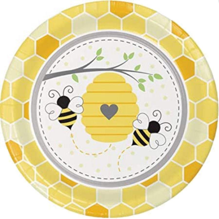 Bordjes bijen met honingraat 8 stuks