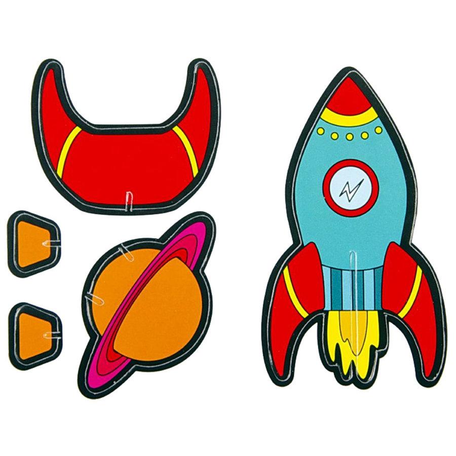 3D Puzzels Raket en Planeet 8 stuks