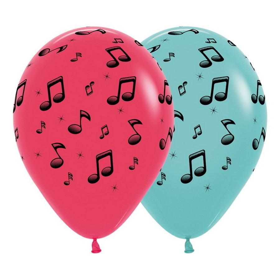 Ballonnen met muzieknoten cyclaam mintgroen 6 stuks