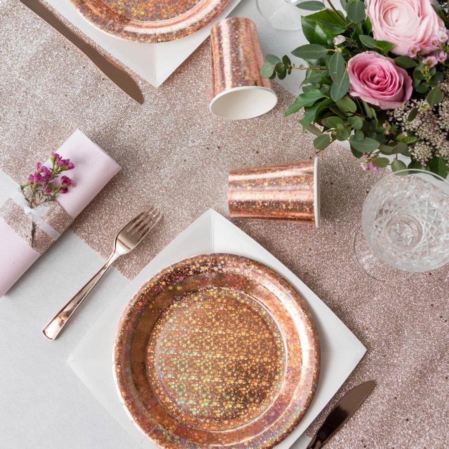 Bordjes rosé goud sparkle 10 stuks