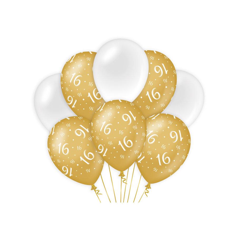 Ballonnen 16 jaar goud wit 8 stuks