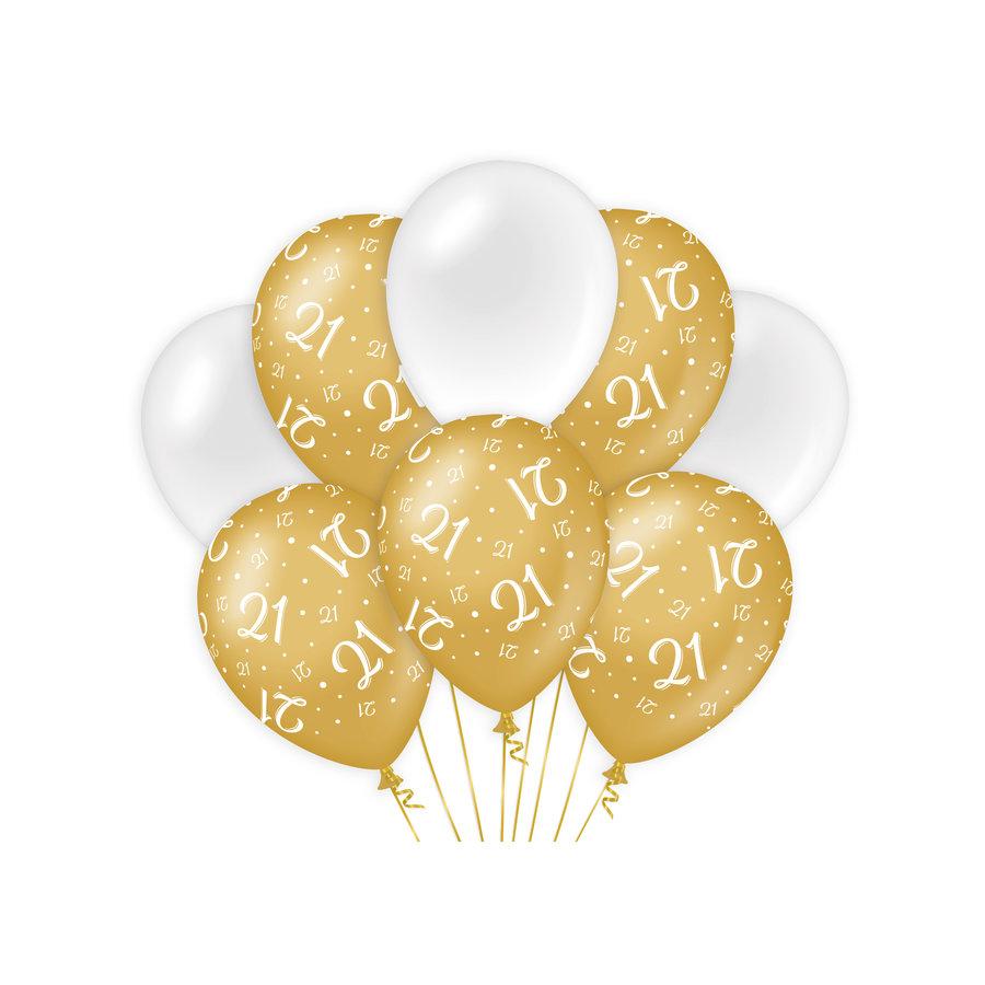 Ballonnen 21 jaar goud wit 8 stuks