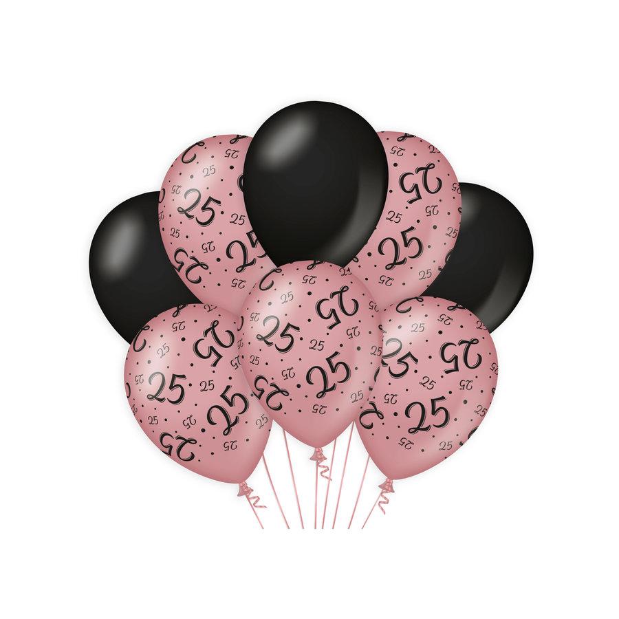 Ballonnen 25 jaar rosé zwart 8 stuks