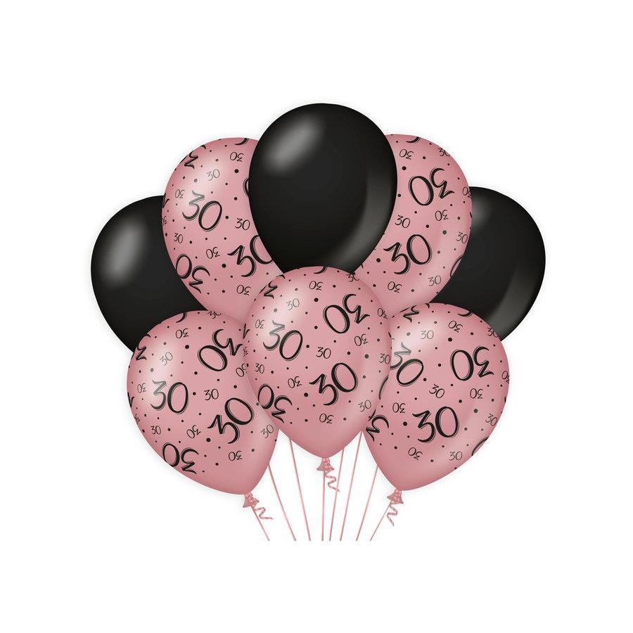 Ballonnen 30 jaar rosé zwart 8 stuks