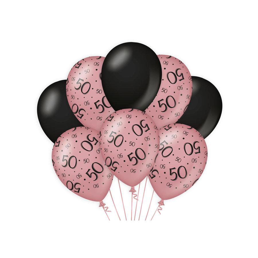 Ballonnen 50 jaar rosé zwart 8 stuks