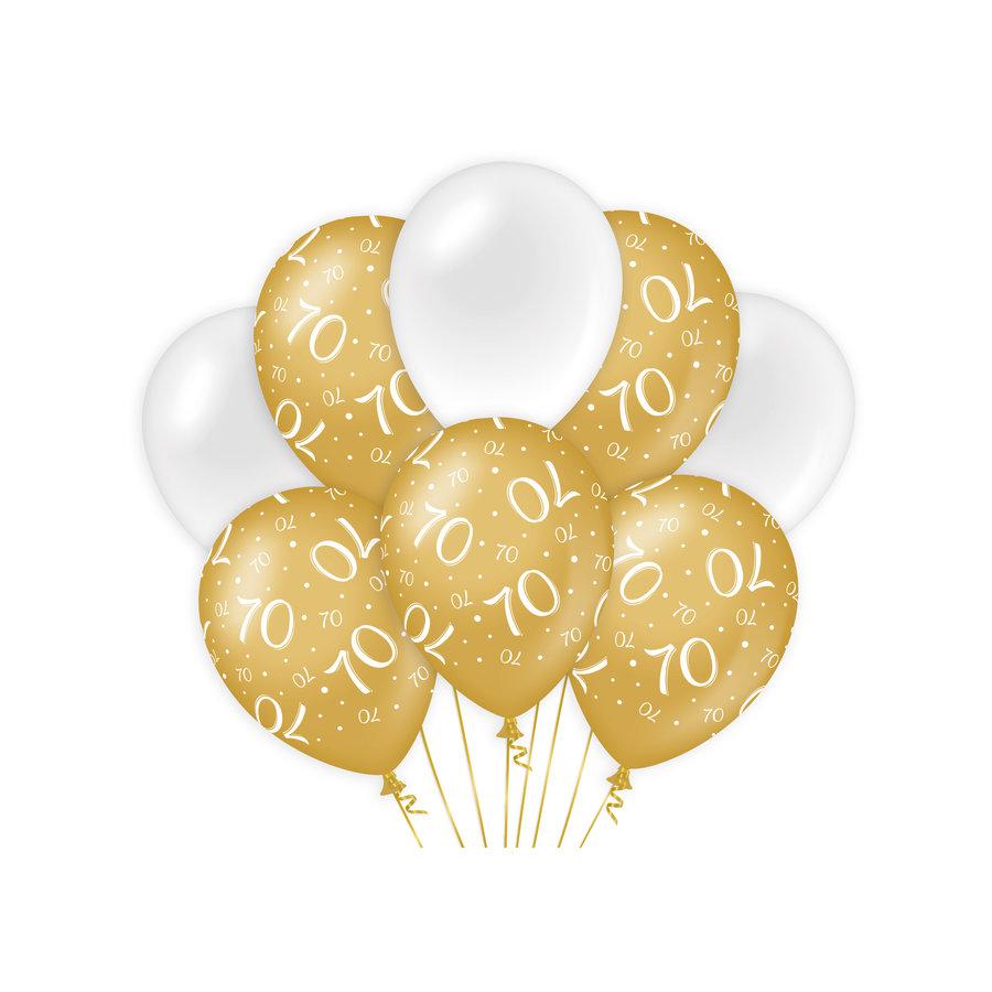 Ballonnen 70 jaar goud wit 8 stuks