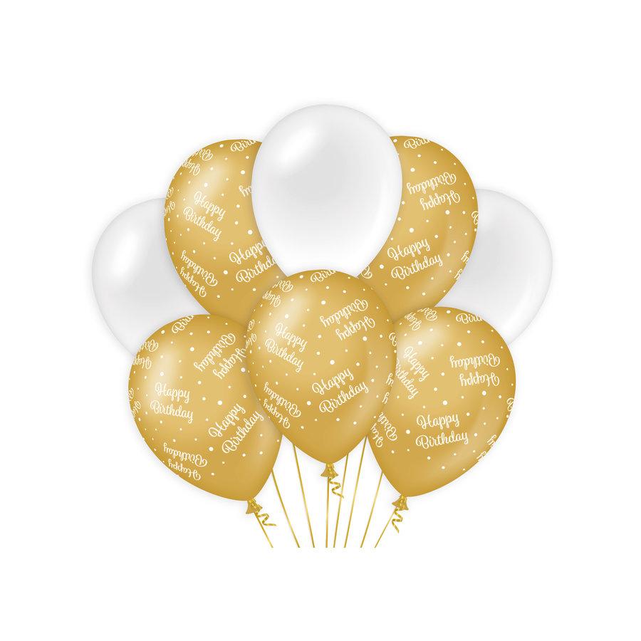 Ballonnen Happy Birthday goud wit 8 stuks