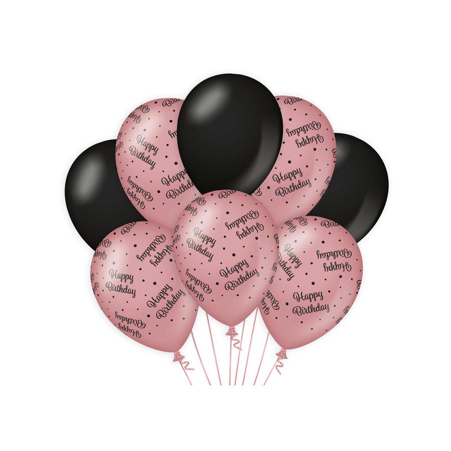 Ballonnen Happy Birthday rosé zwart 8 stuks