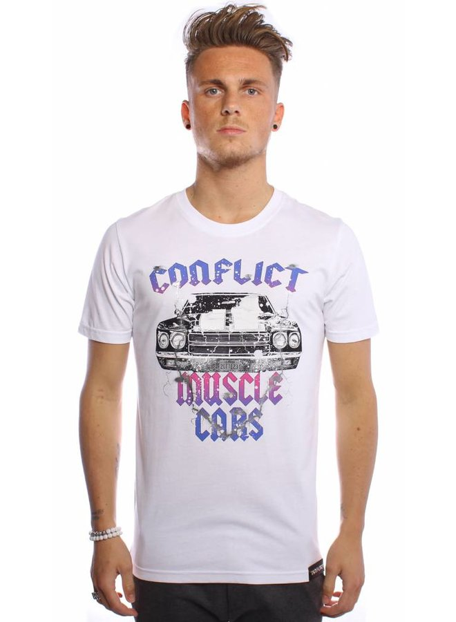 Conflict T-Shirt Muscle Cars Weiß