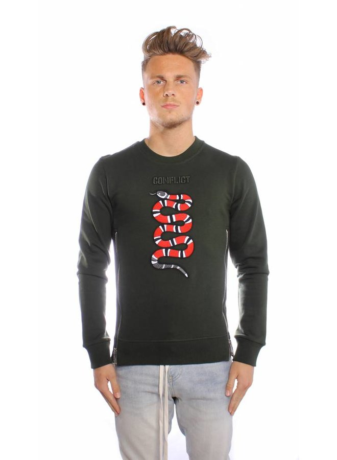 Conflict Sweater Snake Zip Army