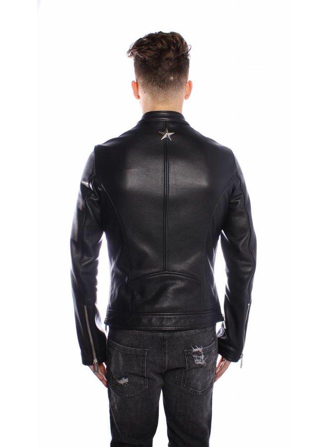 Conflict Leater Jacket Biker Black