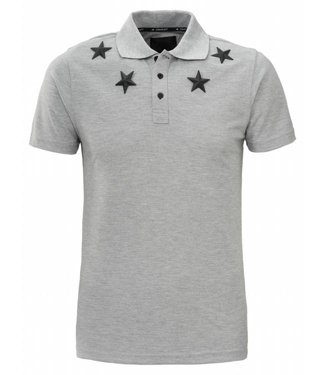Conflict Conflict Polo Metal Stars Grey