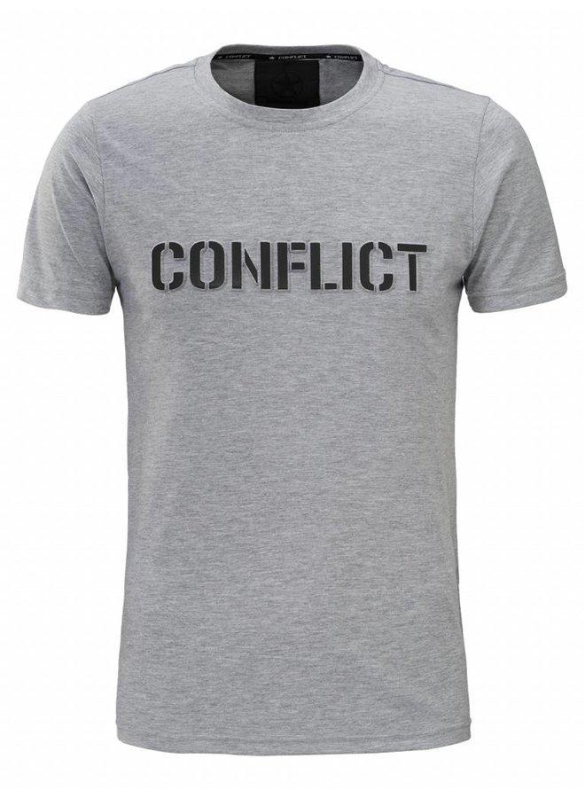 Conflict T-Shirt 3D Logo Grau