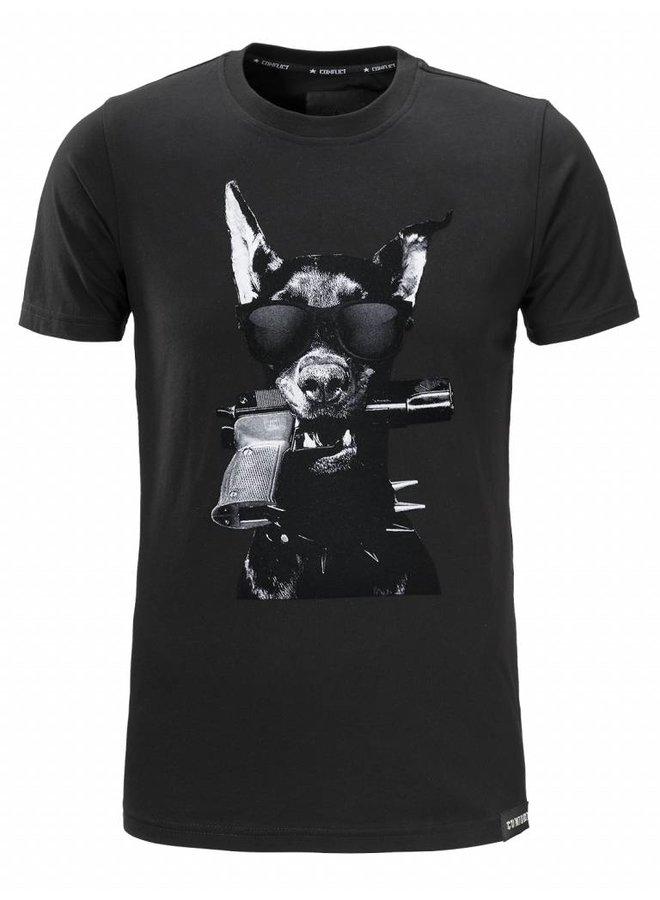 Conflict T-Shirt Dobermann Black