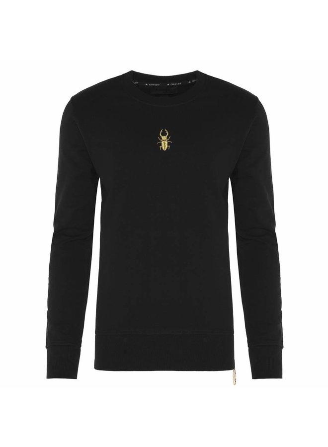 Conflict Sweater Golden Zip Black