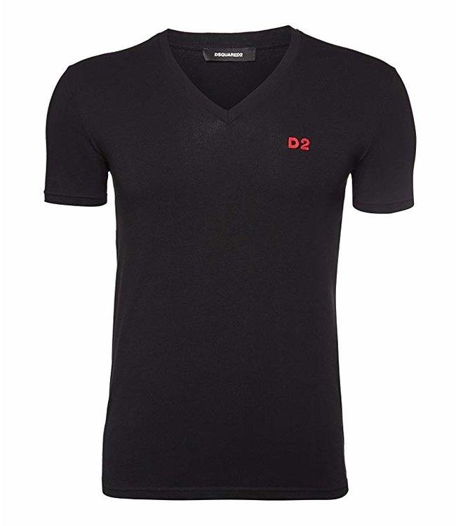 Dsquared2 Dsquared2 T-Shirt D2 V-Neck Black
