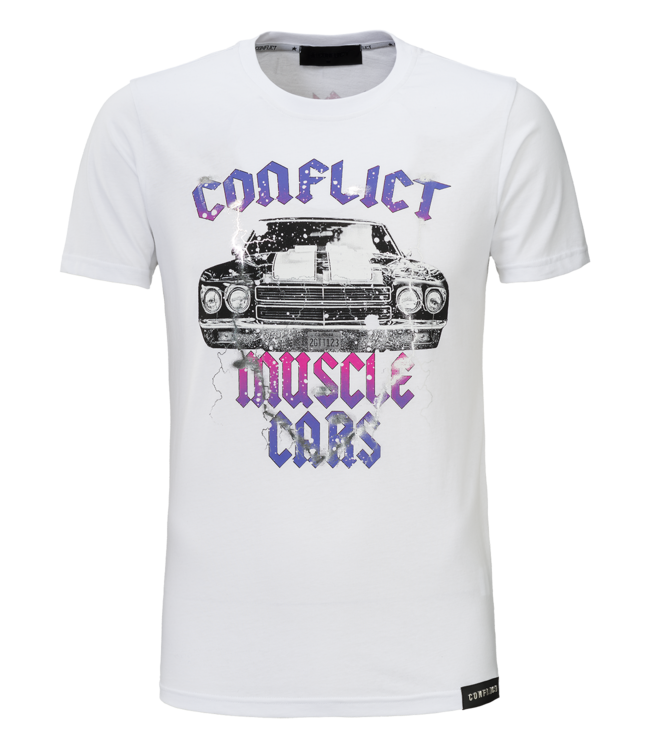 Conflict Conflict T-Shirt Muscle Cars White