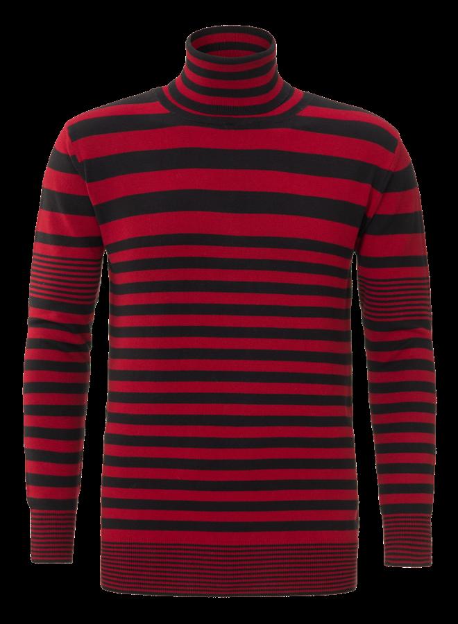 YCLO Knit Striped Light Red/Black