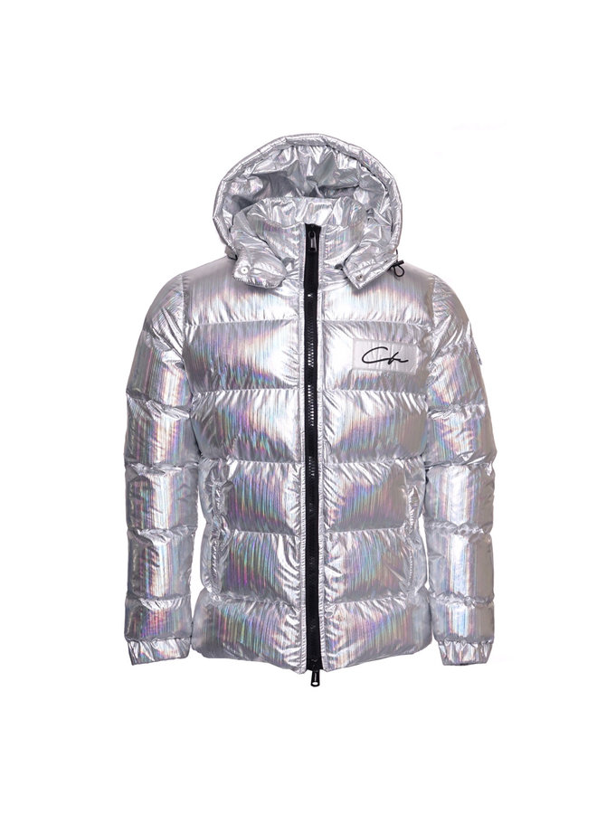 Conflict Puffer Jacket Hologram Striped