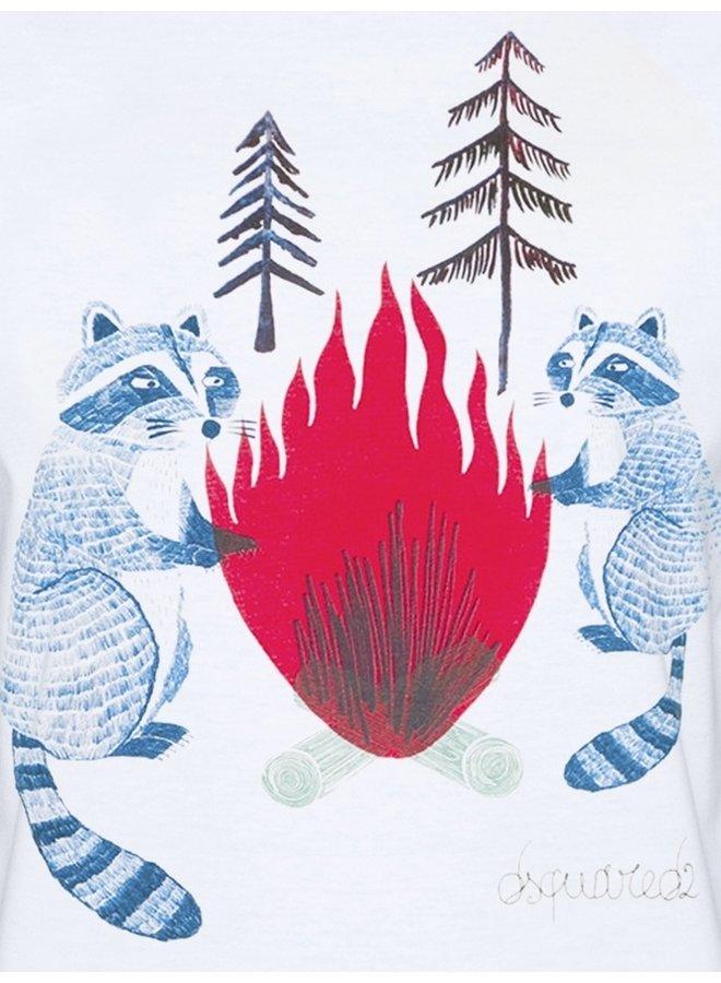 Dsquared2 T-Shirt Waschbär Weiß