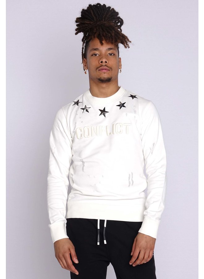 Conflict Sweater Metal Stars Weiß