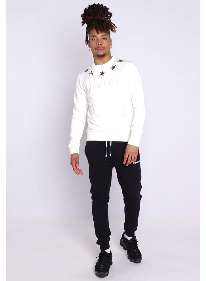 Conflict Sweater Metal Stars White