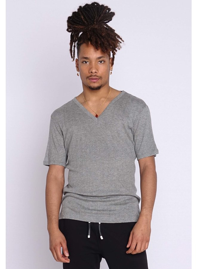 Dolce & Gabbana T-Shirt V-Ausschnitt Grau